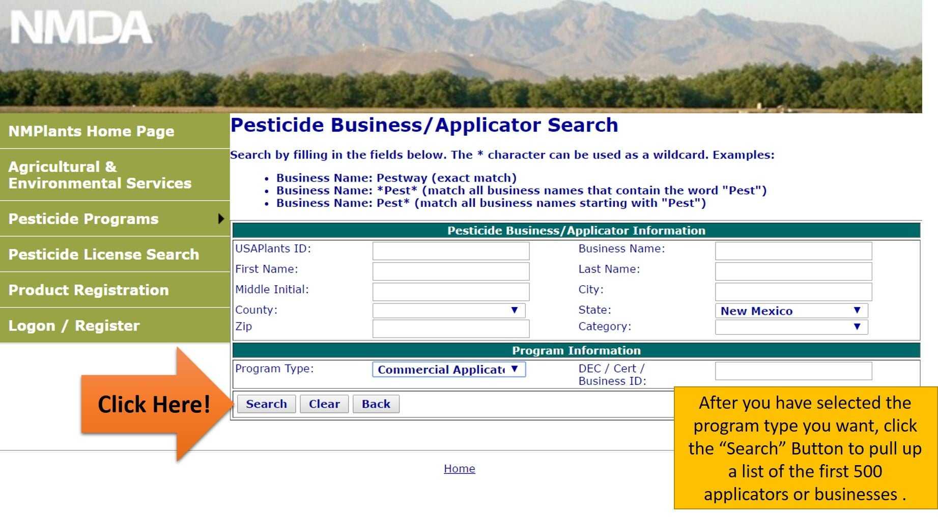 Public applicators search results new mexico department of licensesearch4 xflitez Images