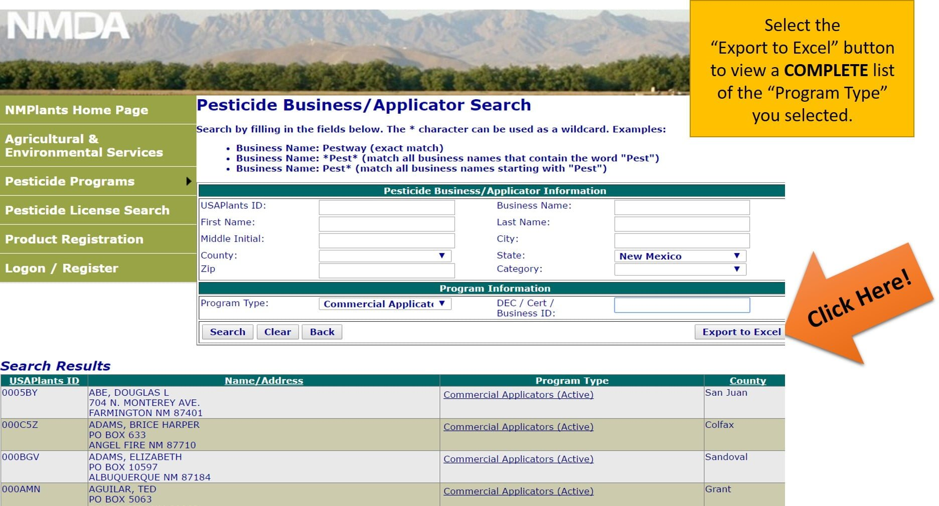 Public applicators search results new mexico department of licensesearch5 xflitez Images