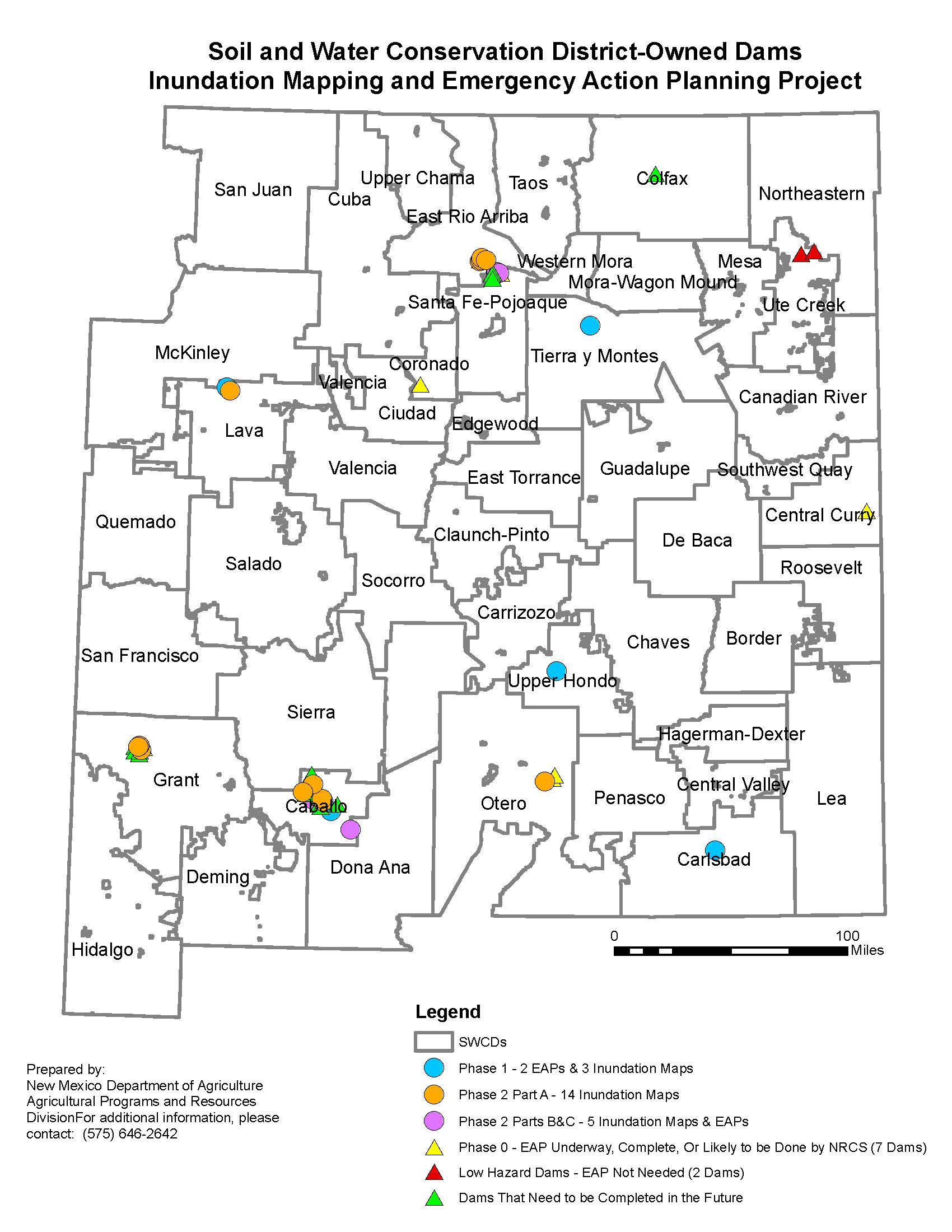 The New Mexico Department of Agriculture has been selected to receive the West Regional Award by the Association of State Dam Safety Officials (ASDSO) for the completion of the Soil and Water Conservation District-Owned Dams Inundation Mapping and Emergency Action Planning Project. The project provided a total of 24 Inundation Maps and 13 EAPs to Soil and Water Conservation and Watershed Districts across the state.