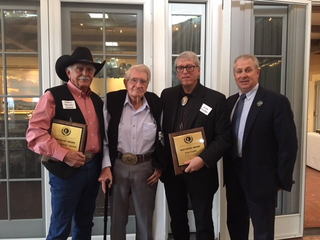 "Artist Robert ""Shoofly"" Shufelt (far left) and weaver Irvin Trujillo (second from right) are 2018 Rounders Award recipients. New Mexico Secretary of Agriculture Jeff Witte (far right) presented the awards to the two men Wednesday, Oct. 24 at the Governor's Residence in Santa Fe. The award is named after The Rounders, a classic western novel written by New Mexican Max Evans (second from left). Created in 1990 by former New Mexico Secretary of Agriculture Frank DuBois, the purpose of the award is to honor those who live, promote and articulate the western way of life. This year's recipients join 23 previous honorees, including Max Evans as the inaugural award recipient."