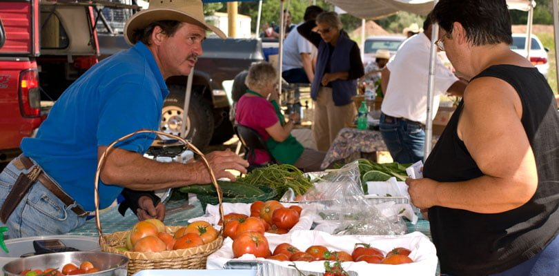Organic produce is shown on a table. These items are being sold to the New Mexico public.
