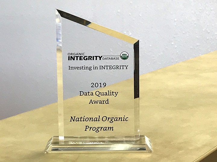 NMDA is honored to have received an Investing in INTEGRITY award from the USDA National Organic Program
