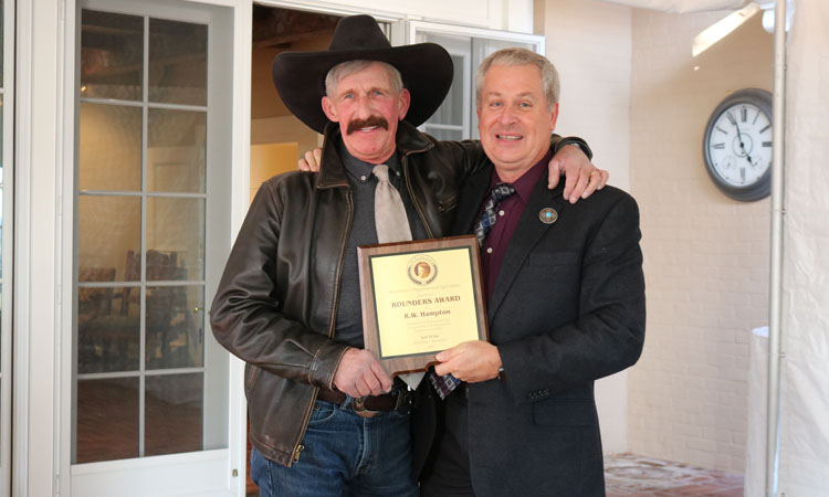 NMDA hosted the Rounders Awards Ceremony at the Governor's Residence in Santa Fe in October 2019. The award is named after The Rounders, a classic western novel written by New Mexican Max Evans. Created in 1990 by former New Mexico Secretary of Agriculture Frank DuBois, the purpose of the award is to honor those who live, promote and articulate the western way of life. Agriculture Secretary Jeff Witte presented the 2019 Rounders awards to New Mexico artist Dino Cornay and performer/songwriter RW Hampton at the ceremony.