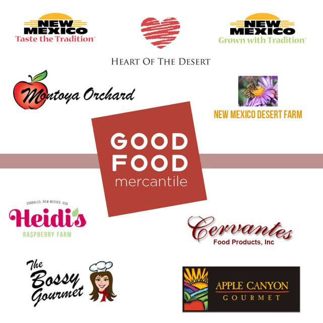 Cluster of logos with Good Food Mercantile logo in center