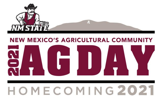 Crimson, gray, white and black New Mexico's Agricultural Community 2021 AG Day and Homecoming logo with Pistol Pete mascot