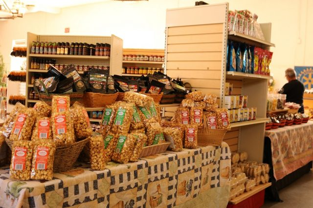 Popcorn, sauces and other products on display.
