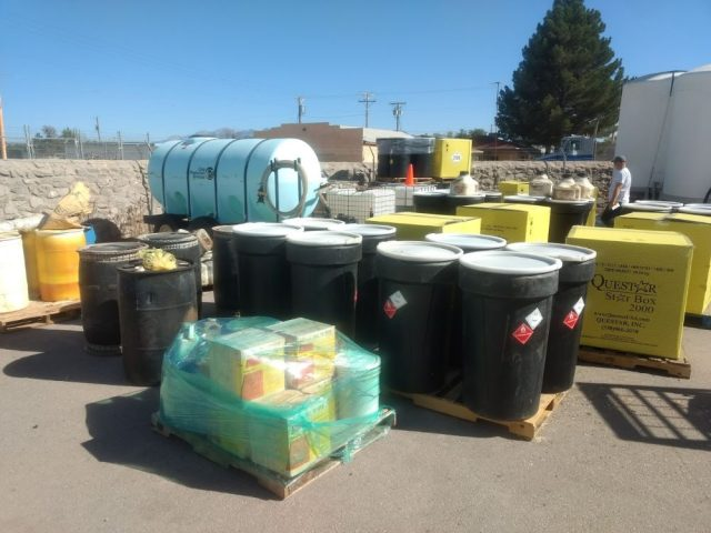 bins of previously collected pesticides